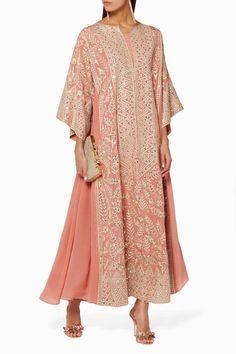 Shop Luxury Bthaina Blush Embellished Kaftan Dress | Ounass UAE