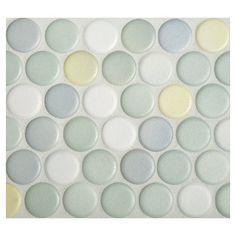 "Complete+Tile+Collection+Penny+Round+Mosaic+-+Citrus+Blend+-+Anti-slip+Matte,+1""+Round+Glazed+Porcelain+Penny+Mosaic+Tile,+Anti-Microbial,+Anti-Odor,+Anti-Staining+Technology,+MI#:+063-Z1-250-031,+Color:+Citrus+Blend Penny Round Tiles, Penny Tile, Backsplash Panels, Kitchen Backsplash, Yellow Tile, Shower Floor Tile, Master Shower, Creature Comforts, Kids Bath"