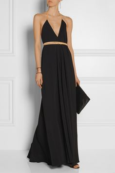 Victoria Beckham|Leather-trimmed cady gown.  Great deep V.  I love long swishy dresses.  #fashion