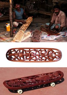12 mahim woodcarvers whittle ornamental skateboards (can you really ride this without grip tape though...? still pretty!)