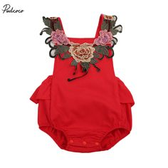 Embroidery Floral Bodysuit Newborn Baby Girls 2017 New Summr Floral Ruffle Sleeveless Sunsuit Clothes Bodysuit Jumpsuit Outfits #Affiliate