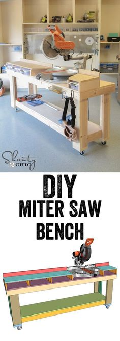 Free Plans...DIY Miter Saw Bench! Plans for the workbench and the miter saw station! www.shanty-2-chic.com #WoodworkingTips