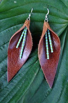 Autumn Leaf Genuine Leather Earrings by KristianaRose on Etsy