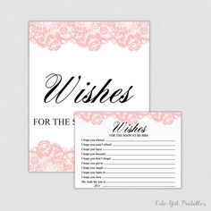Pink Lace Wishes for the Bride - Bridal Shower - Bridal Shower Game - Wedding - Bride to be - Advice Cards - Bride and groom - 0006P