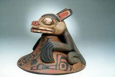 Haida wooden bear dance hat with copper details. Before 1883. Smithsonian collection. @cargocultist