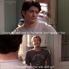 When they both had horrid hair hahaha but still loved them Haley James Scott, Nathan Haley, Nathan Scott, Tv Show Quotes, Movie Quotes, Movies Showing, Movies And Tv Shows, One Tree Hill Quotes, James Lafferty