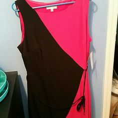 NWT Sandra Darren dress pink and black sz 14W Sandra Darren dress   Nwt size 14w   Great for work a cocktail party or even every day  very light weight and machine washable Sandra Darren Dresses