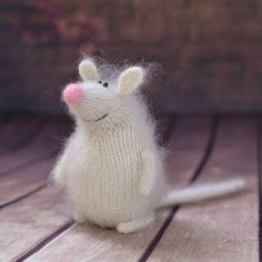 Miniature mouse white woodland amigurumi plush knitted mouse