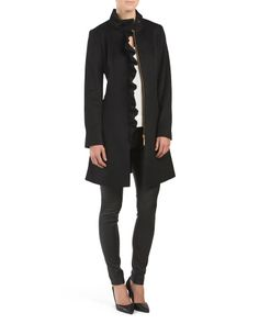Tahari Wool+Blend+Kenya+Side+Ruffle+Coat zip pockets hits at thigh heavyweight, polyester lining high neck, zip front closure model's height is 5ft. 10in., wearing size 4 wool/polyester/viscose/other fibers imported dry clean style #:1000142314 $99.99
