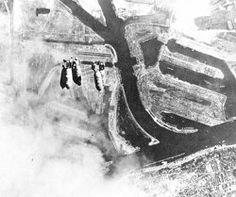 American 500 lb bombs drop onto Hamburg during the first of the 8th Air Force daylight raids