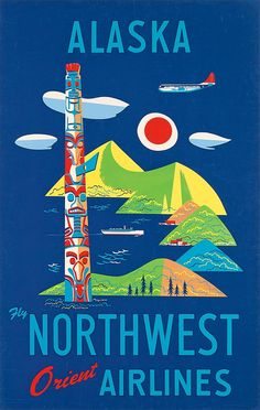 DESIGNER UNKNOWN ALASKA - FLY NORTHWEST ORIENT AIRLINES