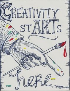 Just so they know, walking into the door to your room is where they turn on their creativity. This is the perfect poster to put above the stage, over the art door threshold, pointing to the pencil can or wherever you want them to begin imagining. They need to know.