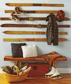 Idea for displaying antique skis and skates. Photo: swoon-interiors.blogspot.com Click image to browse shop!
