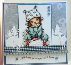 Julie's Blog - Catch Me Crafting: Final Christmas Card make of 2015 with a Sneak Peek of a new Mo Manning Digi image and Happy 2016!