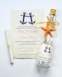 You found it! The MOST elegant beach wedding invitations in a bottle! Tropical chic bottle invitations perfect for destination beach and seaside weddings. One-of-a-kind Nautical Anchors artwork adds style and personality! Our creative invitations in a bottle will knock your guests socks