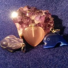 Small stone purple frog, pink heart, blue dolphin pendants #newjewlz #hempjewlz #hemp #jewelry #pendant #stone #purple#frog #pink #heart #blue #dolphin