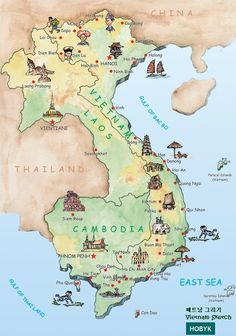 map of Vietnam, Laos, Cambodia.... so much inspiration was born here!