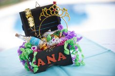 Treasure chest centerpiece. Under the sea birthday party - Ana turned 1!