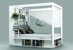 Himmelbett Doppelbett CALGARY weiß Ehebett mit Regalen & Aufklappbarem Lattenrost, Bettkasten Schlafzimmer NEU