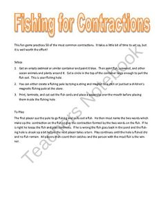 Fishing for Contractions from Tales of a Traveling Teacher on TeachersNotebook.com -  (12 pages)  - This is a fun game that practices 40 common contractions.