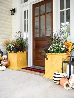 The arrival of fall signals the start of the holiday entertaining season, freshen up your front porch with these best buys. Front Porch Plants, True Homes, Decks And Porches, Front Door Decor, Front Doors, Porch Decorating, Decorating Ideas, Architecture, Cottage Style