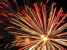 Fireworks taken off of a Seawall in Galveston, Texas