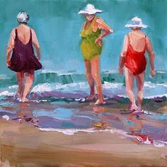 Skirted Old Ladies at the Beach