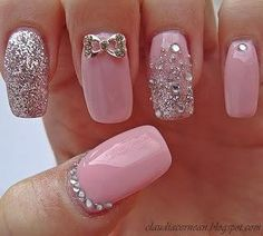 pink nails for a wedding