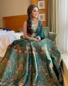 (C) Outfit: Anita Dongre | Green lehenga for wedding | Mehendi look | #wittyvows #bridesofwittyvows #greenlehenga #mehendilook #wednesdaypost #trending #viral #mehendioutfit #floral #weddingdress Indian Wedding Lehenga, Indian Wedding Wear, Green Lehenga, Silk Lehenga, Silk Dupatta, Party Wear Lehenga, Party Wear Dresses, Mehendi Outfits, Bollywood Lehenga