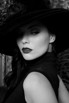 This is why I choose this photo of a women who is dressed in black and looks like she is doing secretive things. Glamour Photography, White Photography, Portrait Photography, Female Photography, Photo Awards, Black And White Portraits, Sensual, Hats For Women, Ladies Hats