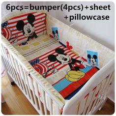 42.99$  Buy now - http://alicsc.worldwells.pw/go.php?t=32527027019 - Discount! 6/7pcs Animals Baby Cot Crib Bedding Set Bumper ,Duvet Cover,120*60/120*70cm 42.99$