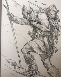 "5,598 Likes, 45 Comments - Karl (@karlkopinski) on Instagram: ""Some kind of mountain ogre #sketching #sketchaday"""