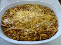 Taco spaghetti-- we love pasta at our home...so this is a different spin when you may be low on shells or chips...