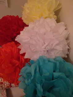 Tissue Paper Flowers, could do this with fabric too, or make miniatures