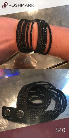 Swarovski Black Leather & Crystal Wrap Bracelet Brand new. Never worn. Swarovski Jewelry Bracelets
