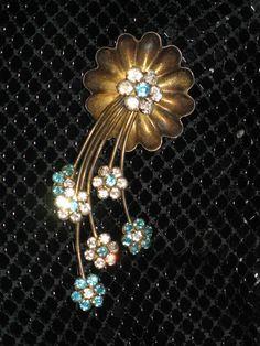 Vtg 40s Jay Kel Sterling Silver Flower Spray Clear Blue Rhinestone Brooch Pin | eBay