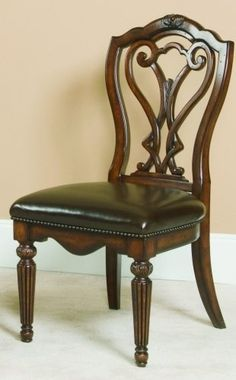 Side Chair-Leather Seat by American Drew. $315.00. Assembly Required Light Assembly. Heirloom Cherry Finish Traditional Transitional StylingDark Brown Leather. Height 42.5. Length 24.25. Width 20.5. The Barrington collection will help you create a warm and sophisticated look in your contemporary formal dining room. These pieces have smooth clean lines, in a Rich Cherry finish that will warm up your room. Form meets function, with comfortable seating, plenty of spacious storage,... Dining Room Furniture Design, Living Furniture, Home Decor Furniture, Wood Bed Design, Chair Design, Classic Furniture, Unique Furniture, Antique Wooden Chairs, Dining Table Chairs