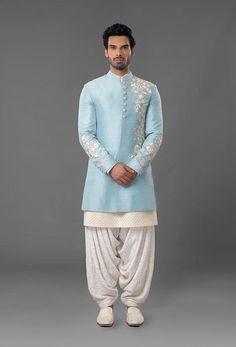 Powdered Blue Raw Silk Sherwani