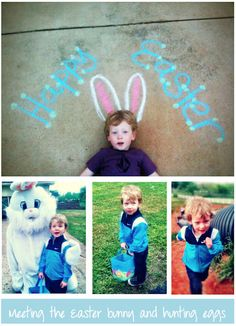 Cute Easter photo idea -- Haha if it's not snowing, I'm drawing this and making all the kids lie down to take a pic! ;-)