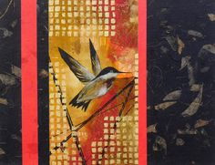 Hummingbird Ink Abstract Acrylic Nature Painting, Mixed-Media Contemporary 11x14  Paper Tapestry Collage Art by artist Lynn Gobble by LynnGobbleDesigns on Etsy