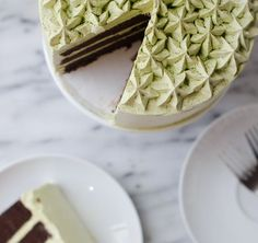 matcha and chocolate layer cake; a rich yet not too fudgey butter based double chocolate cake with a matcha swiss meringue buttercream
