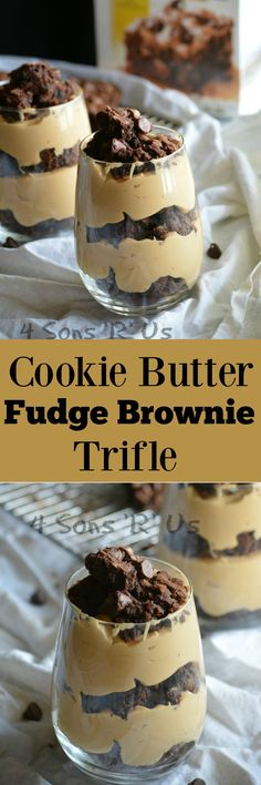 Layers of fudgey brownie pieces, alternate with a rich and creamy 4 ingredient cookie butter mousse, and are topped with even more brownie crumbles. These COOKIE BUTTER BROWNIE TRIFLES offer gourmet taste and a beautiful presentation that actually couldn't be any simpler to whip up– even at the last minute. #mixinmoments #ad #CollectiveBias