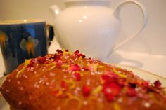Sal's Kitchen: Earl Grey Lemon Drizzle Cake, with dried rose petals and pink sugar