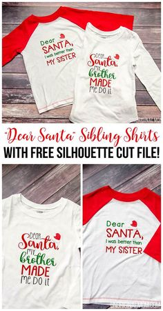 """""""Dear Santa"""" Brother-Sister shirts - such cute sibling christmas shirts! There's a free Silhouette cut file, too!"""