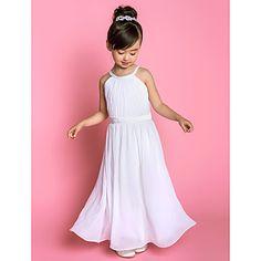 satin robes fille fleur A-ligne bijou rez-de-longueur mousseline de soie et d'étirement (733 918) - EUR € 82.49