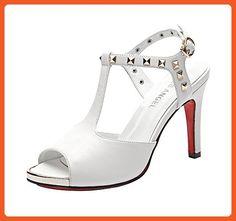 T&Grade Women Fashion Peep Toe T-Strap Ankle Sling Back Rivet Platform Thin High Heel Sandals(8 B(M) US, White) - Sandals for women (*Amazon Partner-Link)