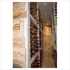 Wine Cellar Design with Wooden Wine Crate Panel Walls