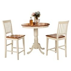 East West Furniture JAVN3WHIW 3Piece Counter Height Dining Table Set ** Continue to the product at the image link.Note:It is affiliate link to Amazon.