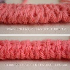 como-tejer-punto-elástico-tubular-en-dos-agujas Bind Off, Knitting Stitches, Knit Crochet, Diy And Crafts, Weaving, It Cast, Handmade, Accessories, Jersey Bebe