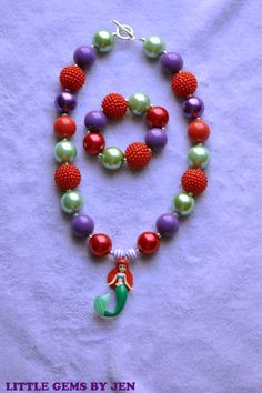 Little Mermaid, Ariel Chunky Bead Necklace and Bracelet FREE SHIPPING!!! on Etsy, $23.00